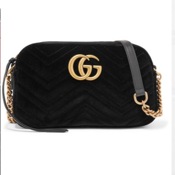 609444ffc Gucci Bags | Gg Marmont Small Leatherquilted Velvet Bag | Poshmark